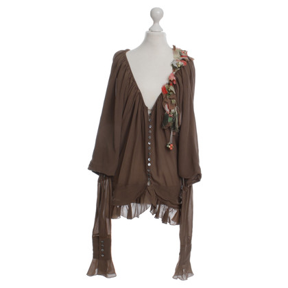 John Galliano Brown chiffon blouse with flowers