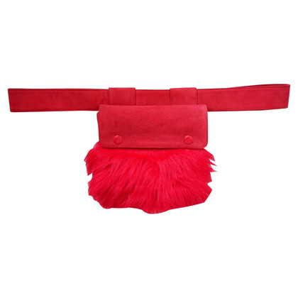Dolce & Gabbana Red Faux Fur Fanny Pack