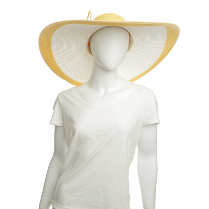 Escada cappello estate in bianco / giallo