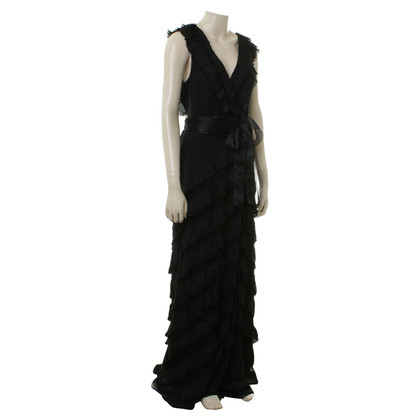 Carolina Herrera Black silk dress with tie belt