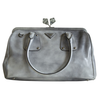 Prada Leather Galleria Bag in grey - Second Hand Prada Leather ...