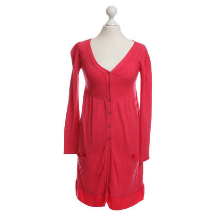 Twin-Set Simona Barbieri Knitted coat in coral red