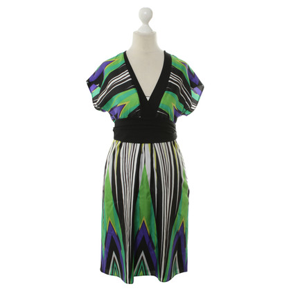 Marc Cain Silk dress with graphic patterns