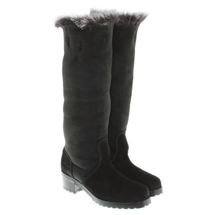 Donna Karan Schapenvacht laarzen in zwart