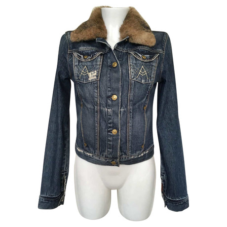 7 For All Mankind Jeansjacke mit Pelzbesatz Blau