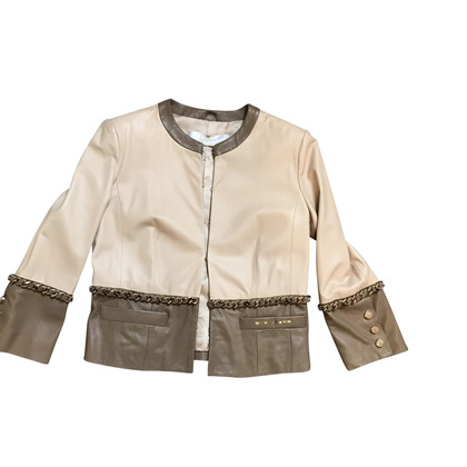 Elisabetta Franchi Leather jacket with gold chain