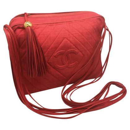 Chanel Rode schoudertas gemaakt van linnen