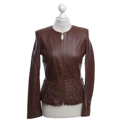 Elisabetta Franchi Leather jacket in brown