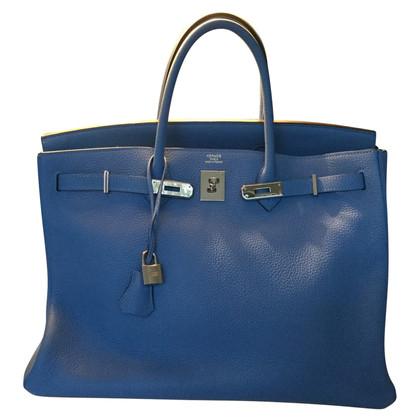"Hermès ""Birkin Bag 40 Clémence Leather Turquoise"""