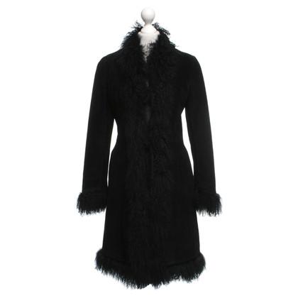 Pollini Suede jas in zwart