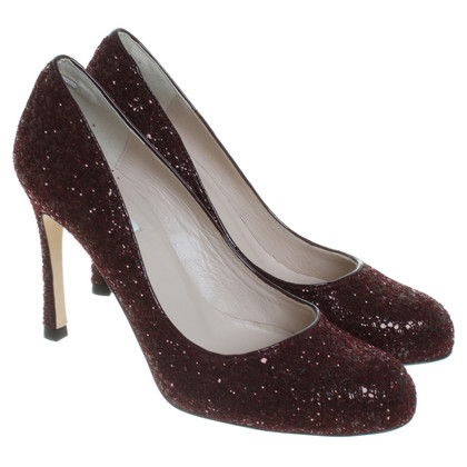 L.K. Bennett Glitter-Pumps in Bordeaux