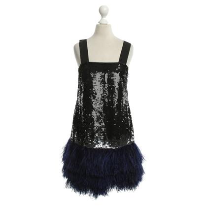 Blumarine Vestito di paillette con piume di struzzo