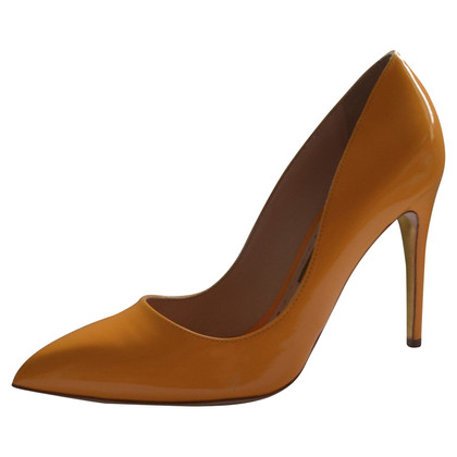 Rupert Sanderson Orange Patent Leather High Heel Pumps