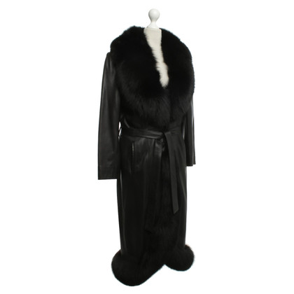 Other Designer Sam Rone - leather coat with fur trim
