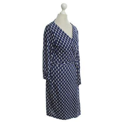 Diane von Furstenberg Wickelkleid in Blau/Weiß