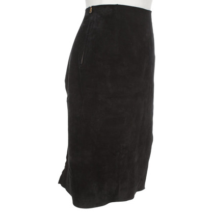 Acne skirt in pelle scamosciata in nero