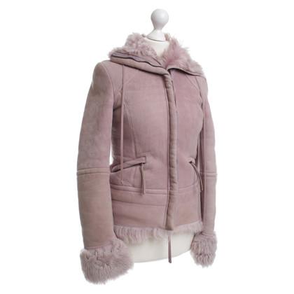 Patrizia Pepe Giacca di pelle d'agnello in rosa
