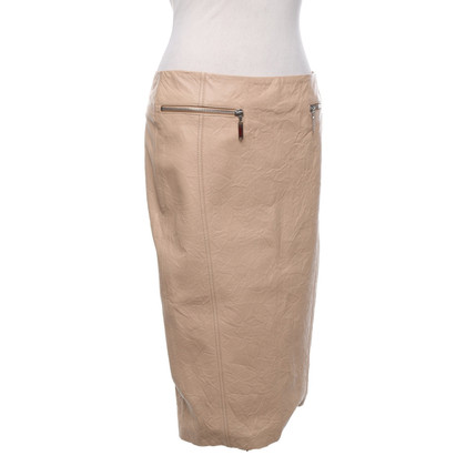 John Galliano Leren rok in beige