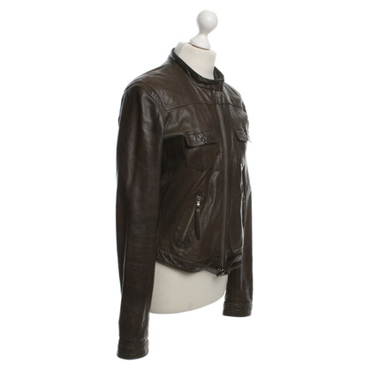 Calvin Klein Leather jacket in Olive