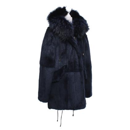Steffen Schraut giacca di pelliccia in blu scuro