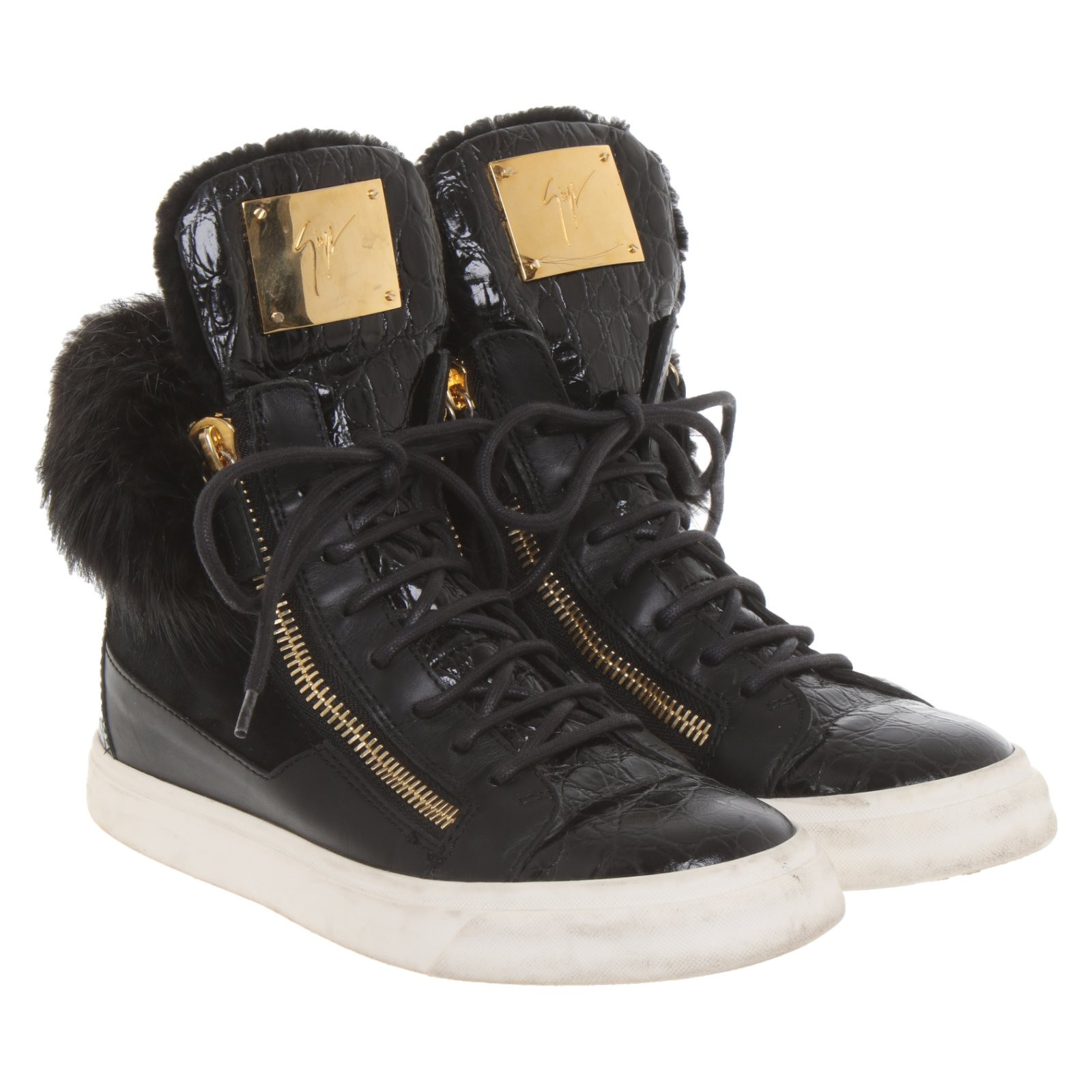wholesale dealer usa cheap sale most popular Giuseppe Zanotti Trainers Leather in Black - Second Hand ...
