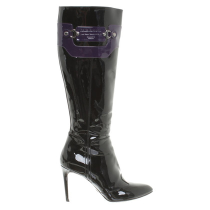 Dolce & Gabbana Shiny leather boots in black