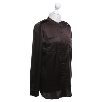Luisa Cerano Zijden blouse in donkerbruin