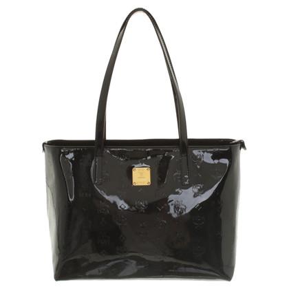 MCM borsa in pelle nera verniciata
