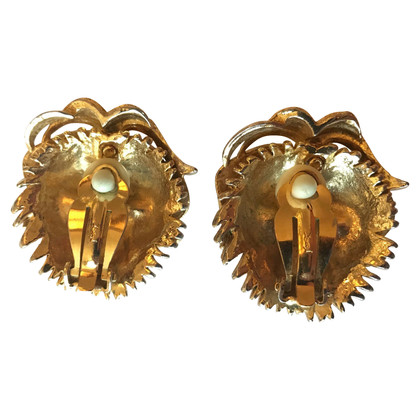 Yves Saint Laurent YSL ear clips lion masks vintage