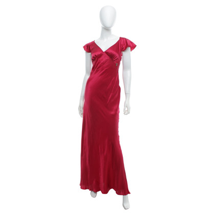 John Galliano Silk dress in pink-red