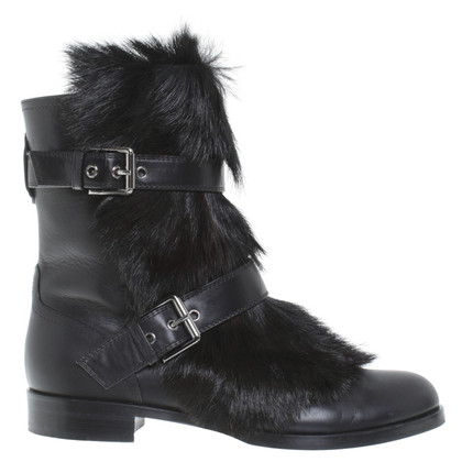 Gianvito Rossi Ankle boots with fur trim