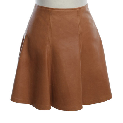 Polo Ralph Lauren Lederen rok in Ochre Brown