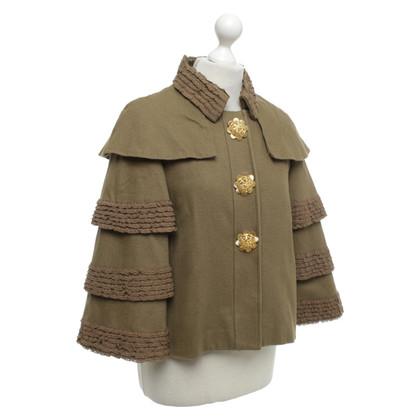 Manoush Olive jacket with ruffles