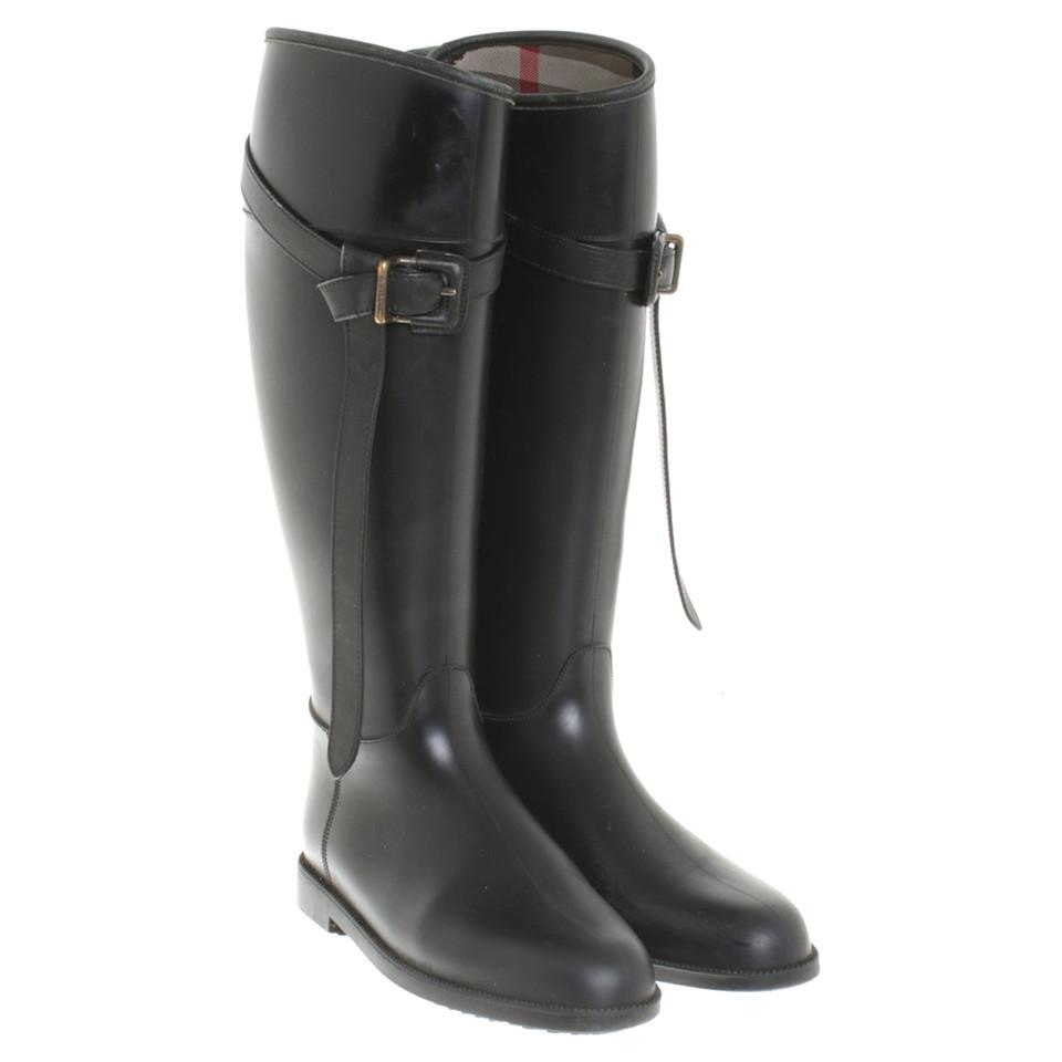 Rubberen Schoudertassen : Burberry rubberen laarzen in zwart koop tweedehands