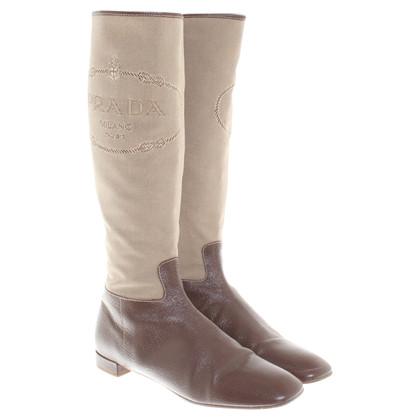 Prada Stivali in Beige / Marrone