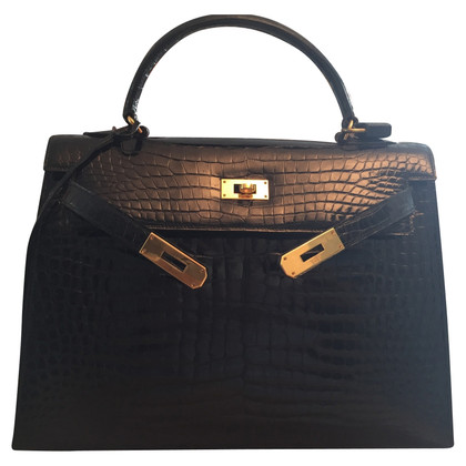 Hermès Kelly Bag krokodil zwart
