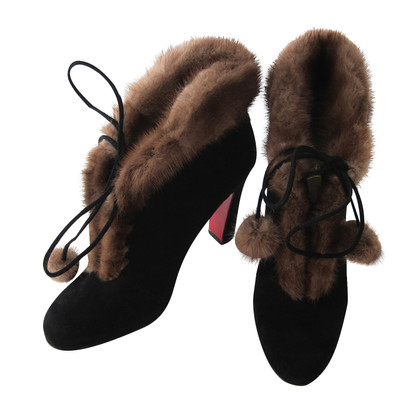 Christian Louboutin Black fur trim ankle boots