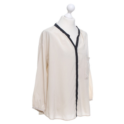 René Lezard Silk blouse in beige / black