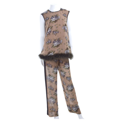 Twin-Set Simona Barbieri Top & pants with feather trim