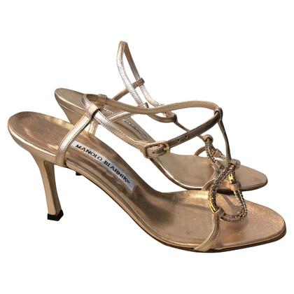 Manolo Blahnik Rose gold-colored sandals