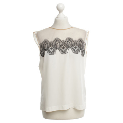 Alberta Ferretti Silk top with lace