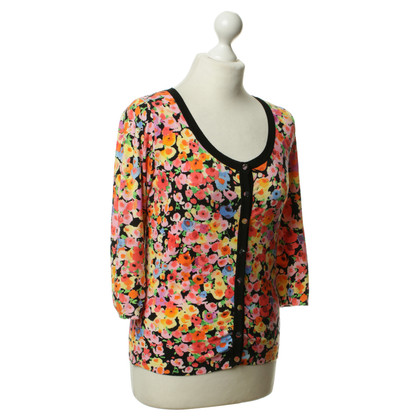 Blumarine Short sleeve Cardigan with a floral pattern