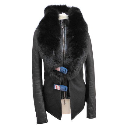 Philipp Plein Jacket in wool leather mix