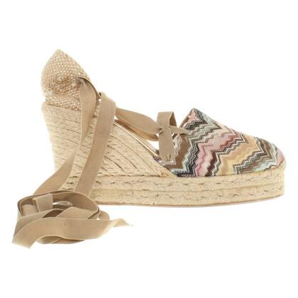 Missoni Wedges sandalen met gevlochten raffia