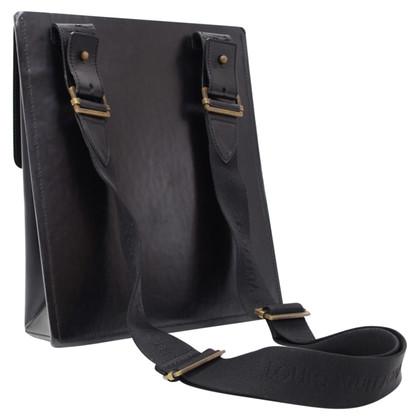 Louis Vuitton Black Leather Messenger Bag