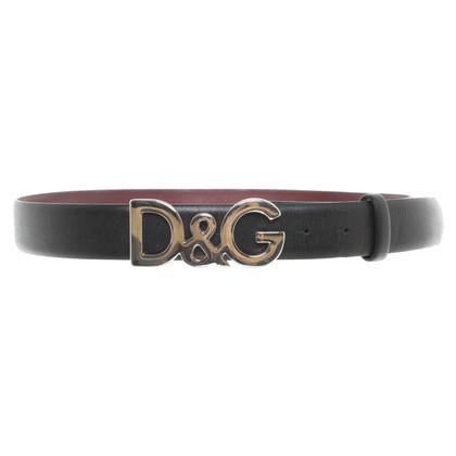 Dolce & Gabbana Leather belt with metal buckle