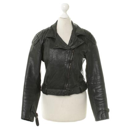 Acne Leren jas zwart