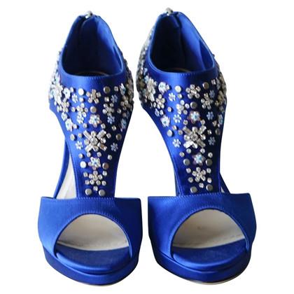 Christian Dior Dior Parure Blue Satin Sandals