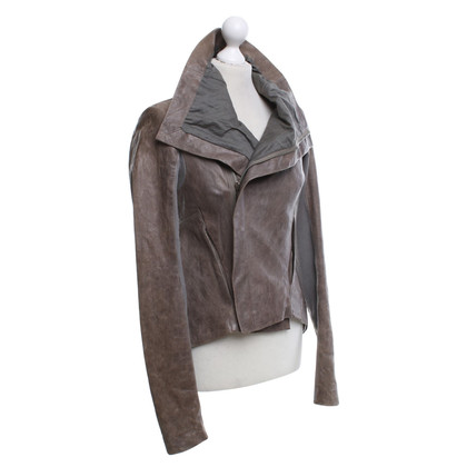 Rick Owens Giacca in pelle in grigio-marrone