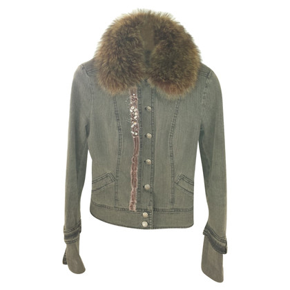 Philosophy di Alberta Ferretti Denim jacket with fur collar